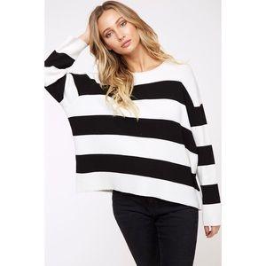 Astrid Striped Sweater - Black/Ivory